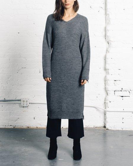 Micaela Greg Grey V-Neck Dress