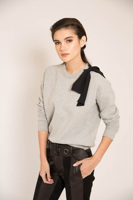 FRAME Denim Bow Sweatshirt in Gris