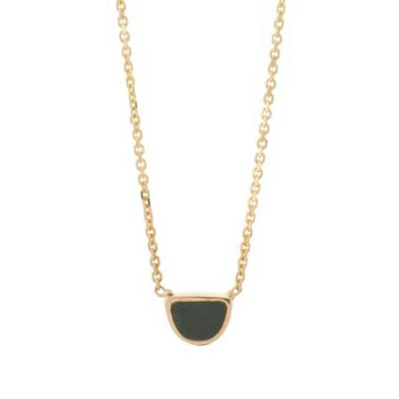 Mociun Black Spinel Half Moon Necklace