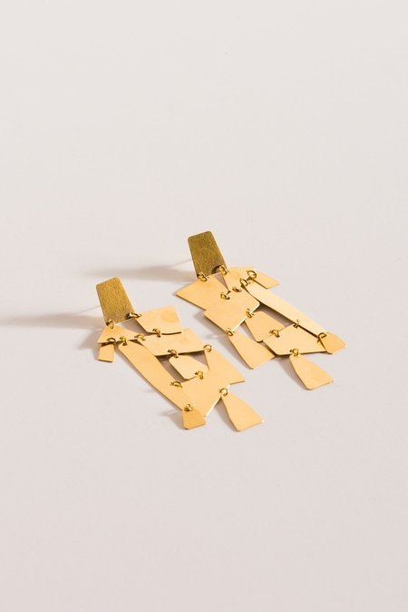 Annie Costello Brown Mika Earrings in Gold