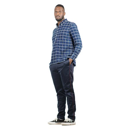 Remi Relief Indigo Native Check P/O Shirt - Blue