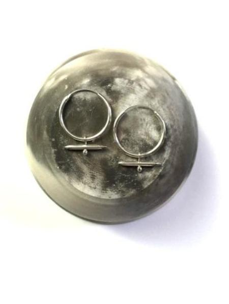MDG Silver Crystal Horn Hoops