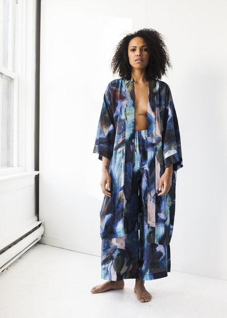 Strathcona Stockings Kimono Robe in Blue Gesture