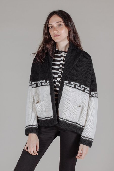 The Great The Lodge Cardigan in Cream and Black