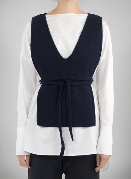 Priory Shop Bib Vest - Navy Boiled Wool