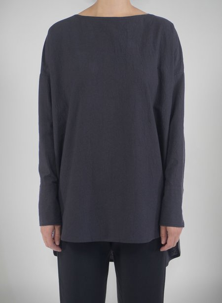 Priory Shop Selt Tunic - Washed Black Crinkle Poplin