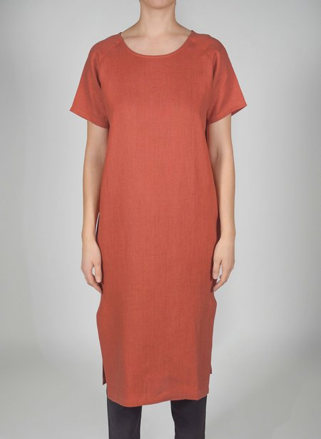 Priory Shop Tage Dress - Terracotta Linen
