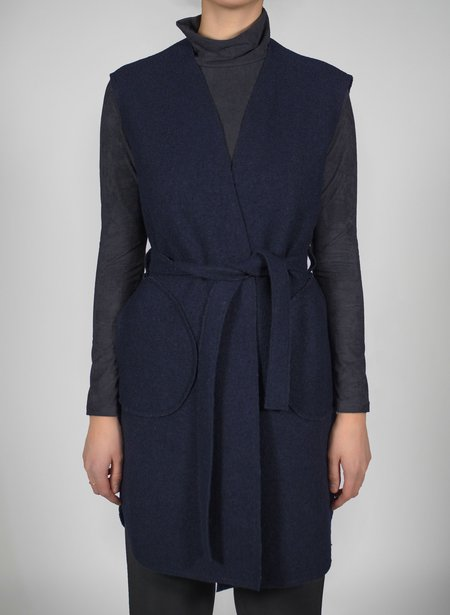 Priory Shop Wrap Vest - Navy Boiled Wool