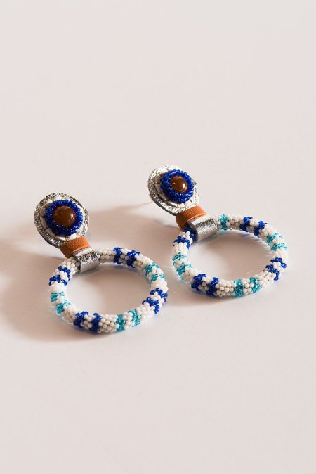 Robin Mollicone Small Beaded Hoop Earring in Carnelian and Blue Stripe