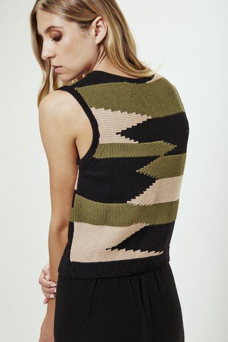 Mila Zovko Nives Knitted Vest in Black/Oatmeal/Olive