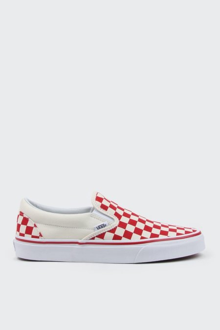 Vans Primary Check Classic Slip On - Red