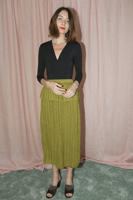 Sayaka Davis Striped Metallic Skirt in Green Gold