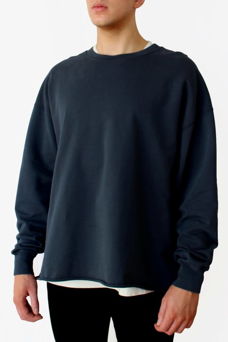 Commun des Mortels Oversized Raw-edge Sweatshirt - Nori Black