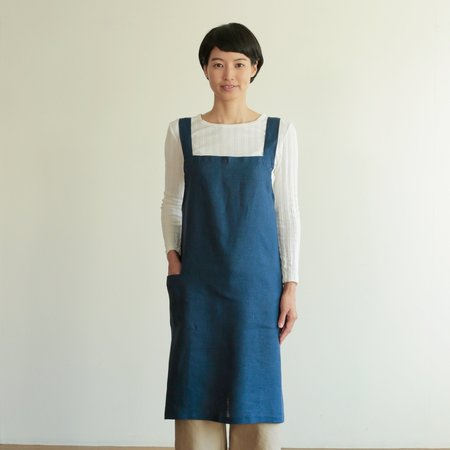 Fog Linen Work Cross Work Apron - Blue