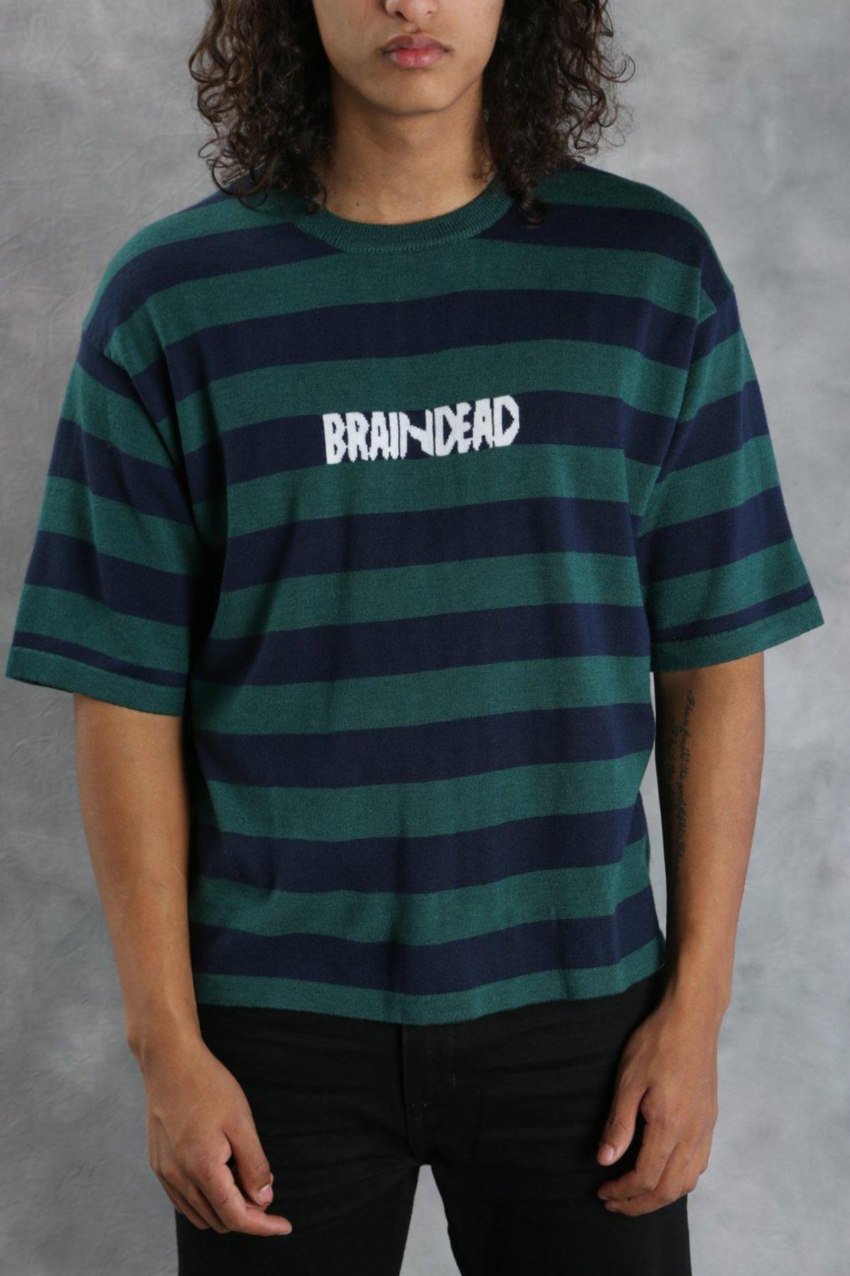 Brain Dead Striped Angora Sweater T Shirt Green Navy Garmentory