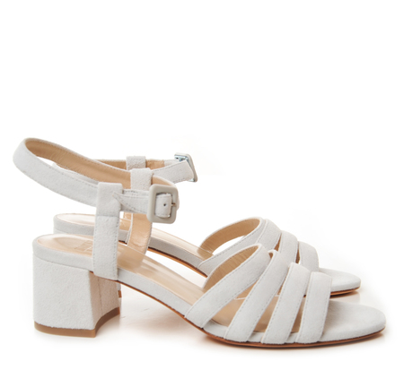 Maryam Nassir Zadeh Dirty White Suede Low Heel Sandals