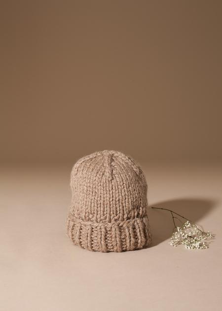Tsuyumi Baby Alpaca Knit Folded Hat - Latte
