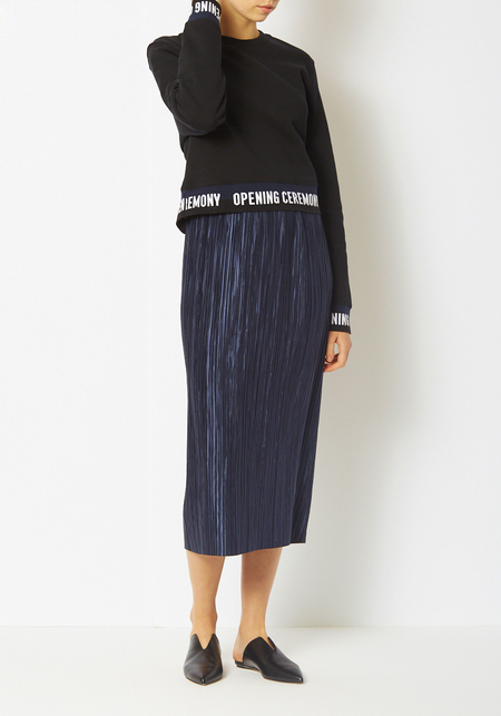 Tibi Navy Plisse Pleated Midi Skirt