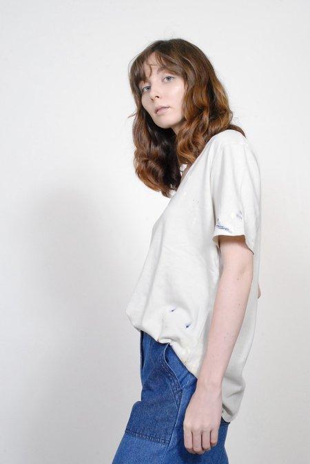 Raquel Allegra Sueded Jersey Boxy V- Neck - Dirty White