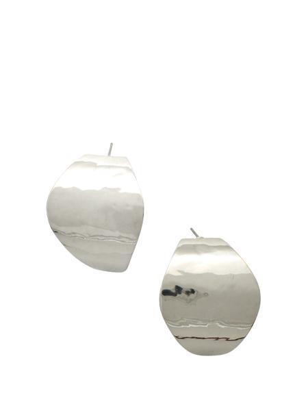 Beth Vintage Jewelry Curved Oval Post Earrings / Sterling Silver