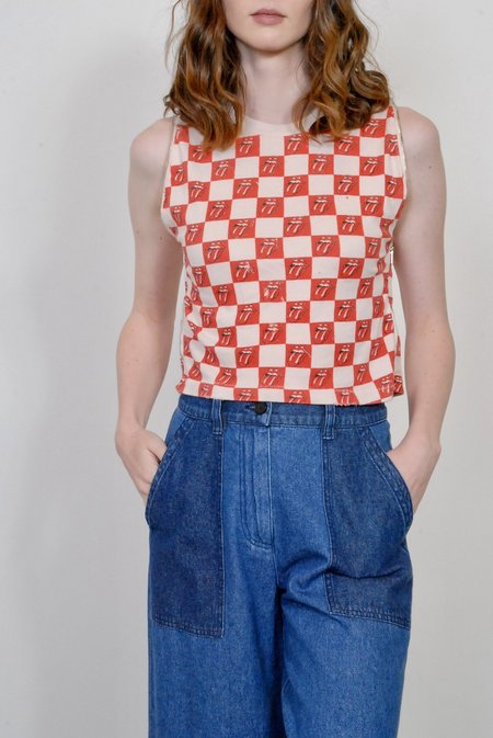 MadeWorn Rolling Stones Checkered Tongue Repeat Zip Tee