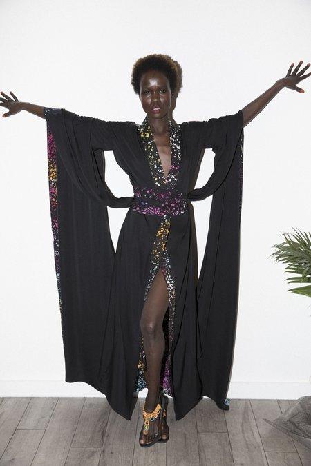 Studio One Eighty Nine Cosmo Silk Hand-Batik Butterfly Long Kimono - Black/Multicolor
