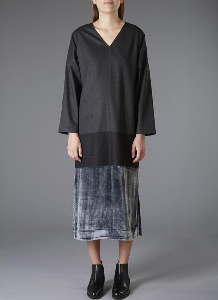 GREI. Velvet Panel Kaftan Dress - Charcoal/Black