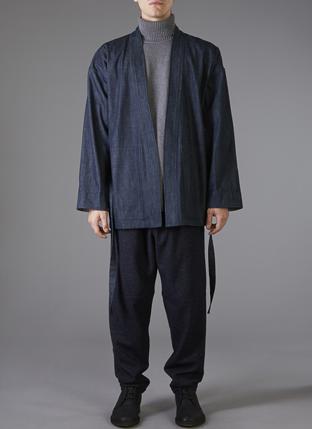 "GREI. Karate ""Cardigan"" Jacket - Raw Denim"