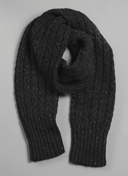 Unisex Grei Donegal Mohair/Angora/Merino Tube Cable Scarf In Charcoal