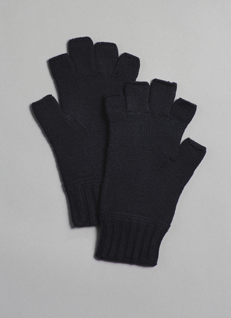 Grei Cashmere Fingerless Gloves In Midnight Blue