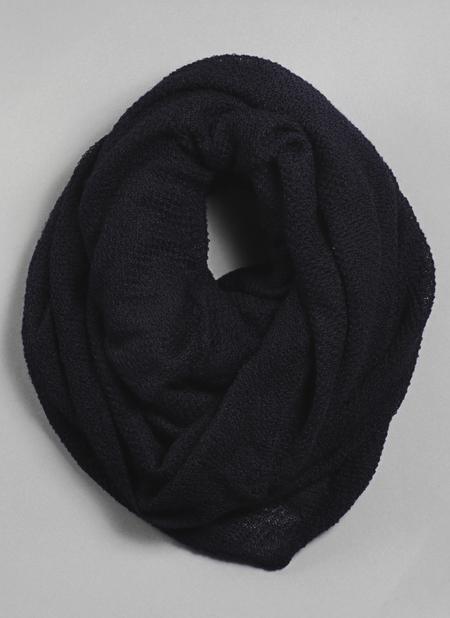 Unisex Grei. Silk Cashmere Circular Scarf - Midnight Blue