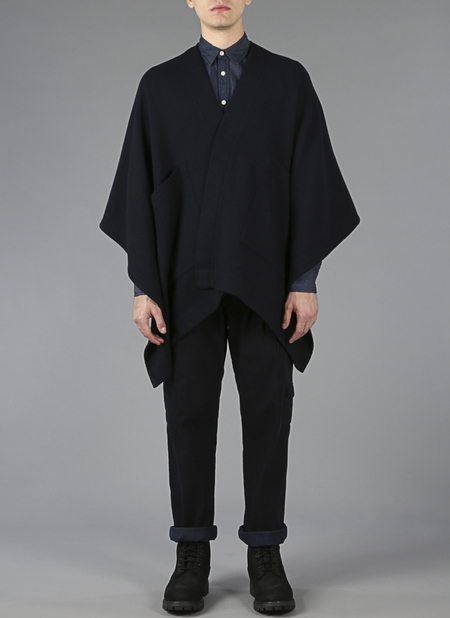 Grei Channel Weave Panel Poncho In Midnight Blue