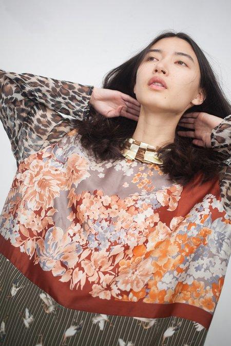 Bettina Bakdal Vintage Scarves Dress in Cranes