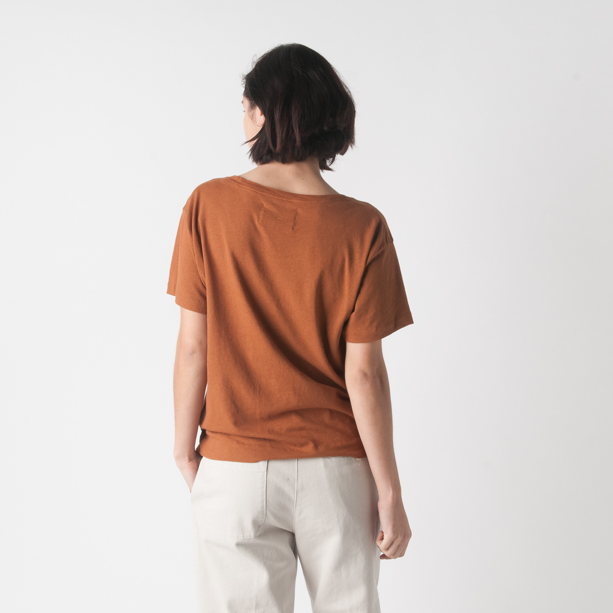 Mhl cotton linen jersey loose tee in copper garmentory for Unique home stays jersey