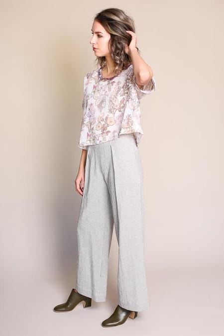 Raquel Allegra Pajama Pant in Natural Mini Check