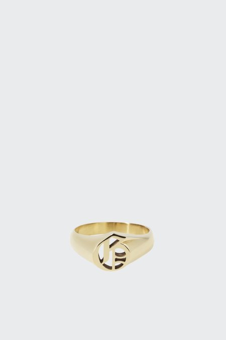 Meadowlark Capital Letter Signet Ring - Gold G