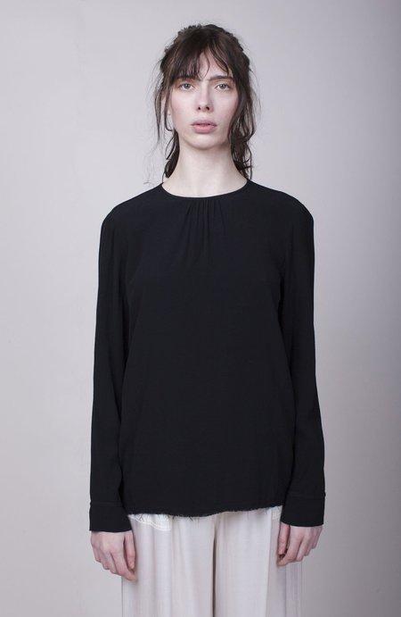Raquel Allegra Long Sleeve Shell Blouse - Black