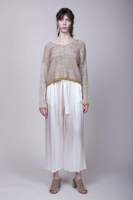Raquel Allegra Pebble Satin Paper Bag Pant - Ivory