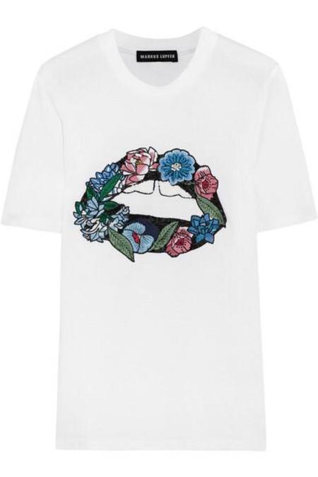 Markus Lupfer Embroidered Flower Lip T