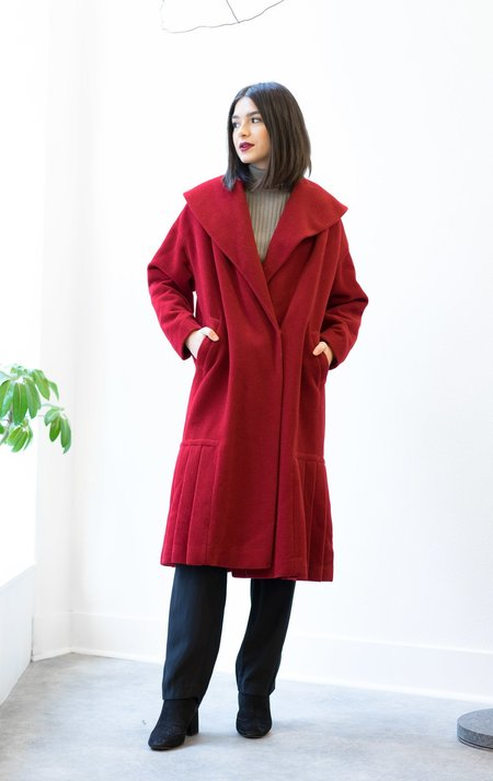 Backtalk PDX Vintage RED PLEATED STATEMENT COAT