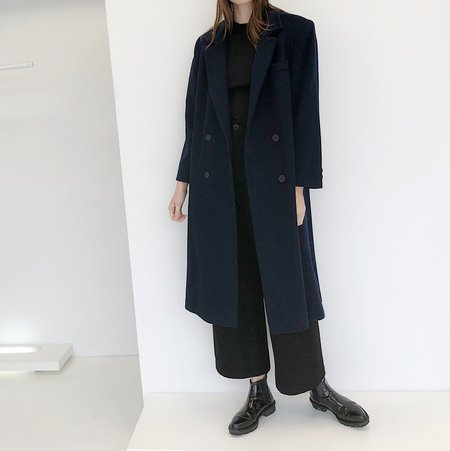 Johan Vintage Navy Long Wool Coat
